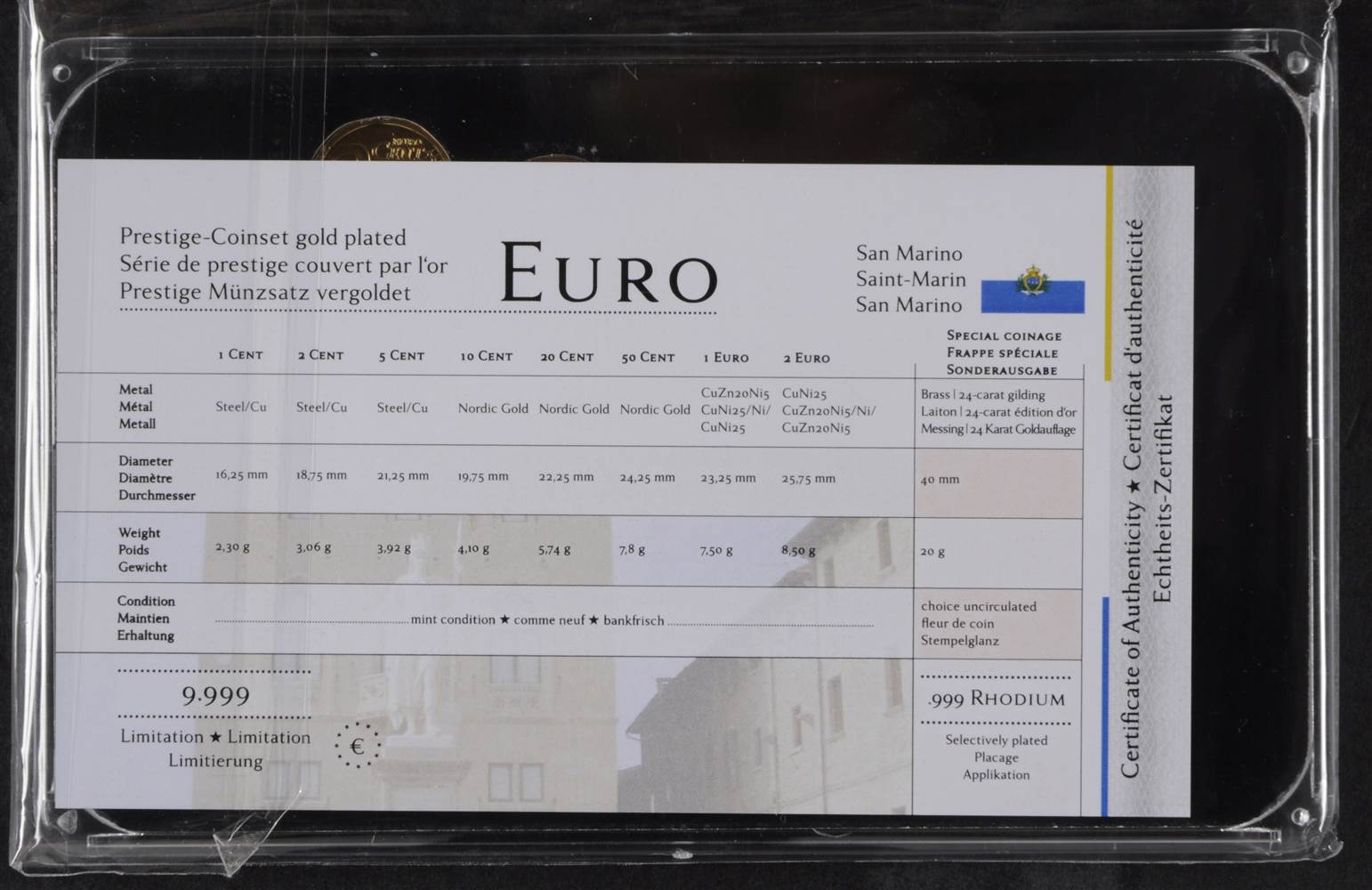 Prestige San Marino : San marino prestige euro münzsatz medaille